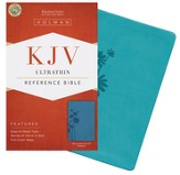 KJV UltraThin Reference Bible, Teal LeatherTouch, Thumb-Indexed