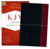 KJV UltraThin Reference Bible, Black and Burgundy LeatherTouch