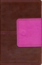 KJV UltraThin Reference Bible, Brown and Pink LeatherTouch with Magnetic Flap, Thumb-Indexed