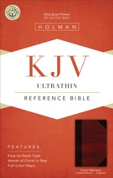 KJV UltraThin Reference Bible, Classic Mahogany LeatherTouch, Thumb-Indexed