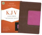 KJV Giant Print Reference Bible, Brown and Pink LeatherTouch with Magnetic Flap