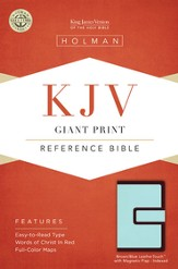 KJV Giant Print Reference Bible, Brown and Blue LeatherTouch with Magnetic Flap, Thumb-Indexed