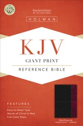 KJV Giant Print Reference Bible, Black and Burgundy LeatherTouch, Thumb-Indexed