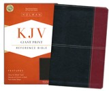 KJV Giant Print Reference Bible, Black and Burgundy LeatherTouch