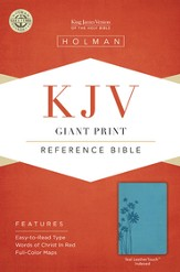 KJV Giant Print Reference Bible, Teal LeatherTouch, Thumb-Indexed
