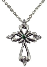 May Birthstone Cross Necklace, Emeral