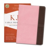 KJV Large Print Compact Reference Bible, Pink and Brown LeatherTouch