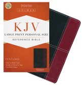 KJV Large Print Personal Size Reference Bible, Black and Burgundy LeatherTouch, Thumb-Indexed