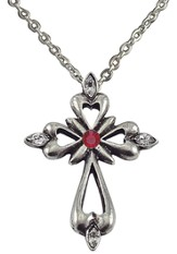 July Birthstone Cross Necklace, Ruby