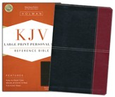 KJV Large Print Personal Size Reference Bible, Black and Burgundy LeatherTouch