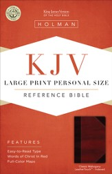 KJV Large Print Personal Size Reference Bible, Classic Mahogany LeatherTouch, Thumb-Indexed