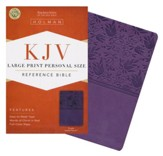 KJV Large Print Personal Size Reference Bible, Purple LeatherTouch, Thumb-Indexed - Imperfectly Imprinted Bibles