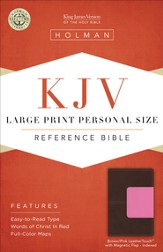 KJV Large Print Personal Size Reference Bible, Brown and Pink LeatherTouch with Magnetic Flap, Thumb-Indexed