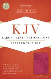 KJV Large Print Personal Size Reference Bible, Pink LeatherTouch, Thumb-Indexed