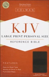 KJV Large Print Personal Size Reference Bible, Brown and Chocolate LeatherTouch, Thumb-Indexed