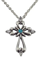 December Birthstone Cross Necklace, Blue Zircon