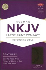 NKJV Large Print Compact Reference Bible, Charcoal LeatherTouch - Imperfectly Imprinted Bibles