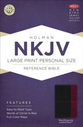 NKJV Large Print Compact Reference Bible, Black and Burgundy LeatherTouch