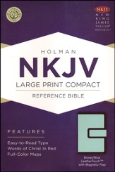 NKJV Large Print Compact Reference Bible, Brown and Blue LeatherTouch with Magnetic Flap