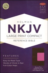 NKJV Large Print Compact Reference Bible, Brown and Pink LeatherTouch with Magnetic Flap