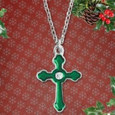 Pewter Cross Pendant, Green