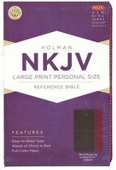 NKJV Large Print Personal Size Reference Bible, Black and Burgundy LeatherTouch, Thumb-Indexed