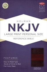 NKJV Large Print Personal Size Reference Bible, Saddle Brown LeatherTouch