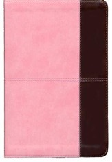 NKJV Large Print Personal Size Reference Bible, Pink and Brown LeatherTouch, Thumb-Indexed