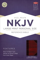 NKJV Large Print Personal Size Reference Bible, Classic Mahogany LeatherTouch, Thumb-Indexed