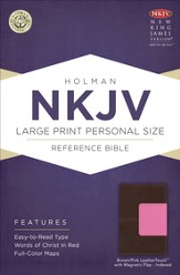 NKJV Large Print Personal Size Reference Bible, Brown and Pink LeatherTouch with Magnetic Flap, Thumb-Indexed - Imperfectly Imprinted Bibles