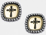 Cross with Studded Frame Earrings