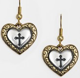 Two-Tone Heart Cross Earrings