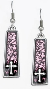 Drop Bar with Cross Earrings