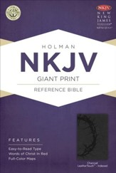 NKJV Giant Print Reference Bible, Charcoal LeatherTouch, Thumb-Indexed