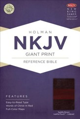 NKJV Giant Print Reference Bible, Saddle Brown LeatherTouch, Thumb-Indexed