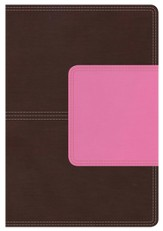 NKJV Giant Print Reference Bible, Brown and Pink LeatherTouch with Magnetic Flap, Thumb-Indexed