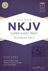 NKJV Super Giant Print Reference Bible, Purple LeatherTouch, Thumb-Indexed - Imperfectly Imprinted Bibles