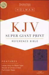 KJV Super Giant Print Reference Bible, Purple LeatherTouch - Imperfectly Imprinted Bibles