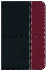 KJV Compact Ultrathin Bible, Black and Burgundy Leathertouch