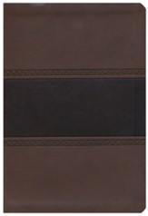 NKJV Large Print UltraThin Reference Bible, Brown and Chocolate LeatherTouch