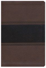 NKJV Large Print UltraThin Reference Bible, Brown and Chocolate LeatherTouch, Thumb-Indexed