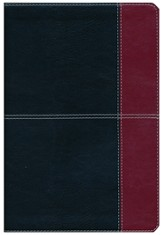NKJV Large Print UltraThin Reference Bible, Black and Burgundy LeatherTouch