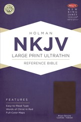 NKJV Large Print UltraThin Reference Bible, Brown Genuine Cowhide, Thumb-Indexed