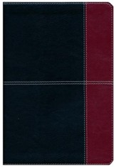 NKJV UltraThin Reference Bible, Black and Burgundy LeatherTouch, Thumb-Indexed