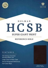 HCSB Super Giant Print Reference Bible, Brown Genuine Cowhide, Thumb-Indexed