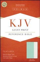 KJV Giant-Print Reference Bible--soft leather-look, mint green