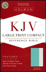KJV Large-Print Compact Reference Bible--soft leather-look, mint green