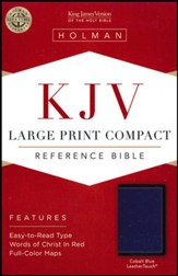 KJV Large-Print Compact Reference Bible--soft leather-look, cobalt blue