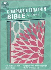 HCSB Compact Ultrathin Bible for Teens--soft leather-look, green blossoms