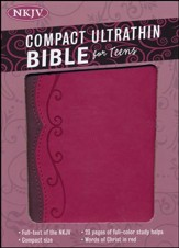 NKJV Compact Ultrathin Bible for Teens, Fuchsia LeatherTouch